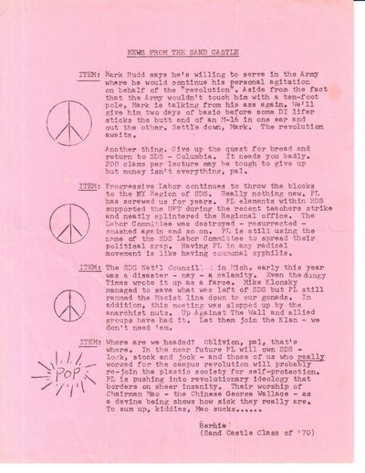n.p.: , 1969. 8.5x11 inch leaflet, mimeographed one side, faint fold creases, short closed edge tear...
