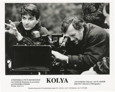 London: Portobello Pictures Ltd, 1997. Vintage reference photograph of Jan Sverak and cinematographe...