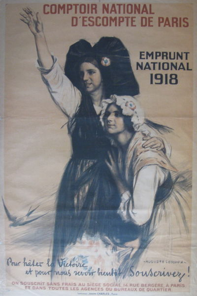 Paris: Comptoir National d'Escompte de Paris, 1918. unbound. very good. Poster. Color lithograph, li...