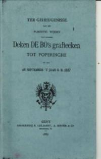 Ter geheugnisse van het plechtig wijden van zaliger Deken De Bo's grafteeken tot Poperinghe op den 28 september 't jaar O.H. 1887