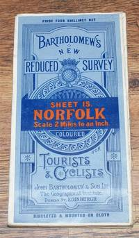 image of Norfolk - Bartholomew's New Reduced Survey of England & Wales, Sheet 15 - Norfolk, 2 Miles to an Inch, Coloured for Tourists and Cyclists