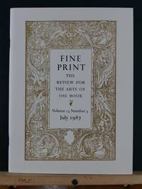 image of Fine Print: A Review for the Arts of the Book, July 1987; Vol 13, #3