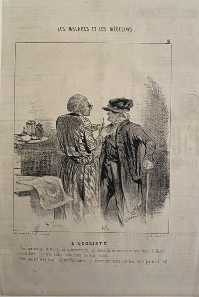 Lithograph publishers in Le Charivari from the set of Les Malades et Les Medicins, The Oculist.