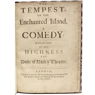 The Tempest, or the Enchanted Island....