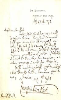 image of Autograph Letter signed to Rev Edwin Paxton HOOD (Joseph, 1830-1902, Congregationalist Divine)