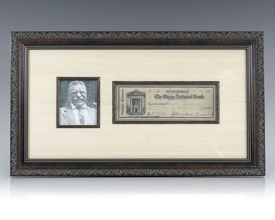 1907. Rare original Theodore Roosevelt Riggs National Bank Check, signed by Roosevelt as President. ...
