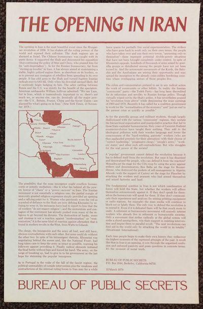 Berkeley: Bureau of Public Secrets, 1979. Poster, 11x17 inch sheet, printed one side, mostly dense t...