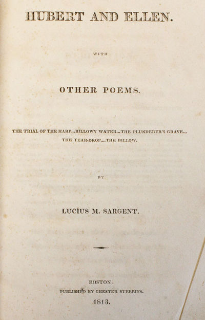 Boston: Chester Stebbins, 1813. . Octavo, 135pp, neatly bound into modern gray unprinted wrappers. E...