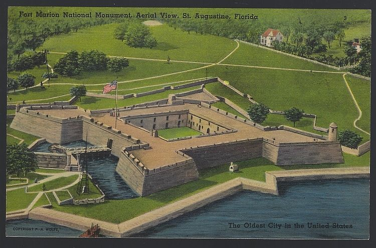 FORT MARION NATIONAL MONUMENT, AERIAL VIEW, ST. AUGUSTINE, FLORIDA, Postcard
