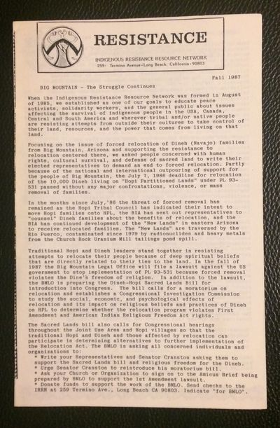 Long Beach, CA: Indigenous Resistance Resource Network, 1987. 4p., 5.5x8.5 inch newsletter, very goo...