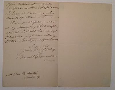 Edinburgh, 1867. unbound. 2 pages, 7 x 4.5 inches, Edinburgh, February 9, 1887, written to noted Ame...