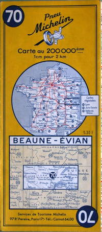 Beaune - Evian by Michelin - No. 70, 1:200,000 - 1962 - from Acanthophyllum Books and Biblio.com