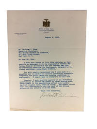 Typed Letter, Signed, Dated August 6, 1938. Sent to Matthew J. Eder, Executive Secretary, The Uptown Chamber of Commerce, New York by Lehman, Herbert H., Governor of New York - 1938
