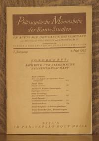 PHILOSOPHISCHE MONATSHEFTE DER KANT-STUDIEN 1. Jahrgang 4. Heft 1925 _ Sonderheft: Asthetik und Allgemeine Kunstwissenschaft