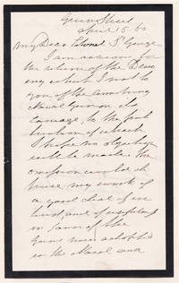 """image of AUTOGRAPH LETTER SIGNED BY SIR HOWARD DOUGLAS REQUESTING A DRAWING FOR HIS """"TREATISE ON NAVAL GUNNERY""""."""