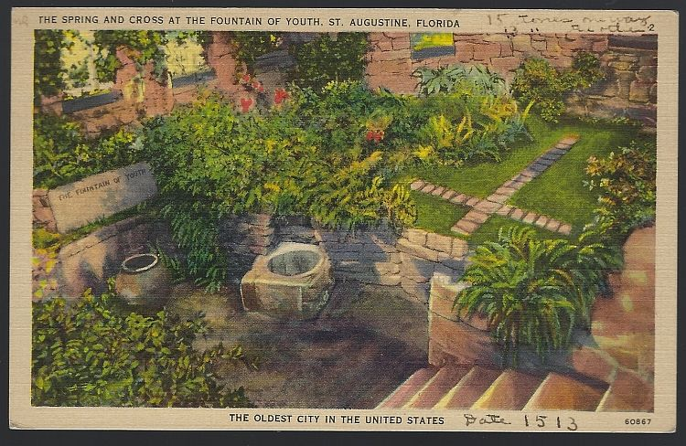 SPRING AND CROSS AT THE FOUNTAIN OF YOUTH, ST. AUGUSTINE, FLORIDA, Postcard