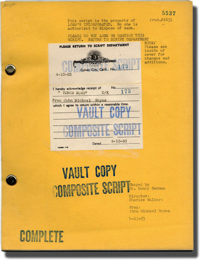 Beverly Hills, CA: Metro-Goldwyn-Mayer , 1953. Shooting script for the 1953 film musical. Based on t...