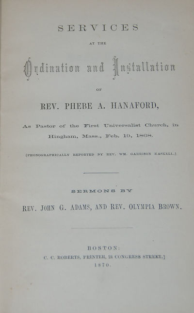 Boston: C. C. Roberts, 1870. First Edition. 8vo, pp. 71. Bound in original cloth that is bright and ...