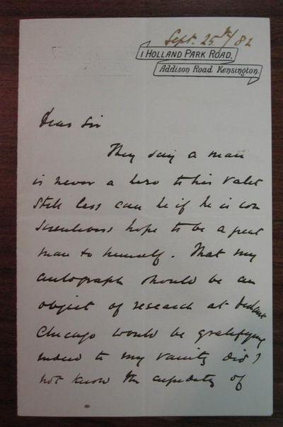 Kensington, 1883. unbound. Humorous autographed letter signed, 2 pages, 8vo, Kensington, September 2...