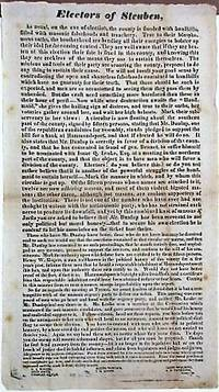 ELECTORS OF STEUBEN, AS USUAL, ON THE EVE OF ELECTION, THE COUNTRY IS FLOODED WITH HANDBILLS, FILLED WITH MASONIC FALSEHOODS AND TREACHERY.. by [Anti-Masonic Party] - 1829 - from David M. Lesser, Fine Antiquarian Books LLC (SKU: 34354)