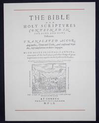 image of Prospectus for a Facsimile Edition of the 1560 Geneva Bible