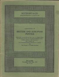 Catalogue of British and European Pewter.  Thursday, 17th July 1975