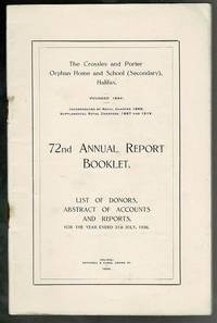 image of The Crossley and Porter Orphan Home and School (Secondary), Halifax: 72nd Annual Report Booklet