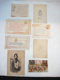 6 small original works of art, all but one signed, plus 2 other early printed pieces