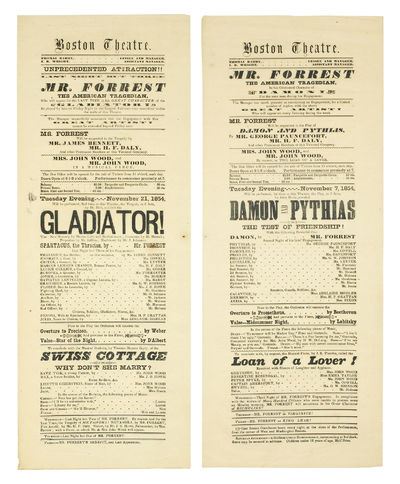 """Boston: 1854. Broadsides, 7 1/2 x 19"""" wood and lead letterpress printing, in protective sleeve; ve..."""