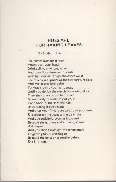Detroit: Broadside Press, 1971. First Edition. Fine. 4to. Broadside printed recto/verso, folded once...
