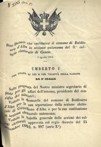 che costituisce il comune di Baldissero d\'Alba in sezione autonoma del 3° collegio elettorale di Cuneo.
