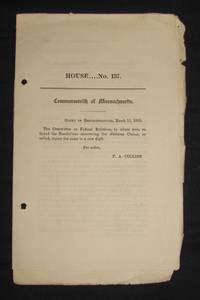 American Civil War] ALABAMA CLAIMS; COMMONWEALTH OF MASSACHUSETTS, HOUSE OF REPRESENTATIVES RESOLUTIONS, MARCH 11, 1869 (No. 137)