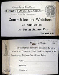 1901 Postal Card for the Committee on Watchers Citizens Union