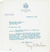 TYPED LETTER TO JAMES B. POND OF THE POND LECTURE BUREAU SIGNED BY GEORGE R. VAN NAMEE,SECRETARY TO ALFRED E. SMITH, GOVERNOR OF NEW YORK.
