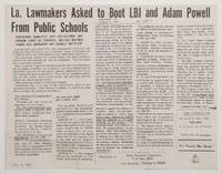 image of La. lawmakers asked to boot LBJ and Adam Powell from pulic schools [Leaflet reprinting an article from the Councilor]