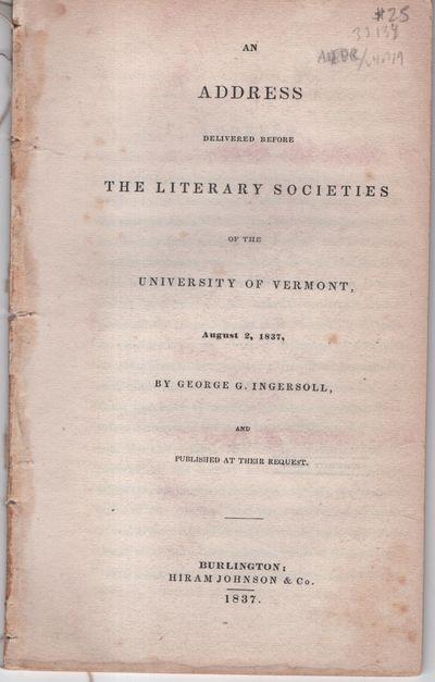 Burlington: Hiram Johnston and Co, 1837. Paperback. Very Good. Paperback. Lacks wrappers. Stab bound...