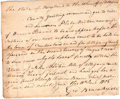 Maryland , 1806 . Letter. Very good. Chain lined paper, cut sheet manuscript citation signed George ...