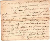 1806 Summons to the Sheriff of Allegany in State of Maryland v. Pheby Martin, wife of Weaver Barns, in regards to her settlement of late husband's estate