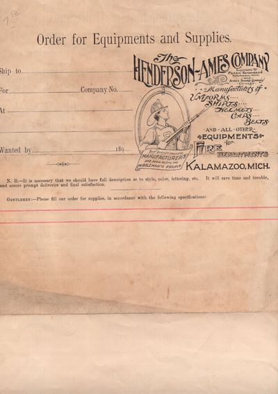 Kalamazoo, Michigan : The Henderson Ames Company , 1900. Letter. Very good. Pictorial letterhead wit...