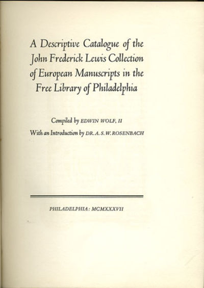 Philadelphia: Free Library of Philadelphia, 1937. First edition. Cloth. A very good or better copy, ...