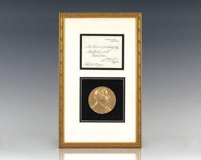 1913. Rare original White House card inscribed by President William Howard Taft,