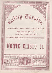 MONTE CRISTO, JR.: A Burlesque Melodrama in 3 Acts by Richard Henry. (Combined regular and souvenir program).