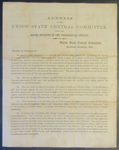 Hartford, Connecticut: Union State Central Committee, September, 1864. First edition. Tall 8vo, sing...