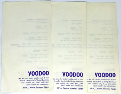 Lagos, Nigeria, c. 1979. Loose_leaf. White paper, blue ink. Near fine. Three Folded paper programs. ...