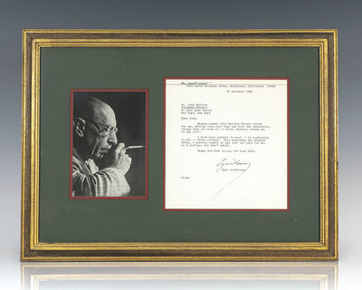 1966. Rare autograph letter signed by Russian-born composer Igor Stravinsky. One page, type-written,...