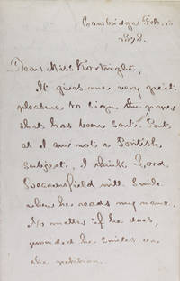 Autograph letter signed (Henry W. Longfellow), to the English novelist Fanny Aikin Kortright, mentioning dinner with Cruikshank and others at Dickens' place