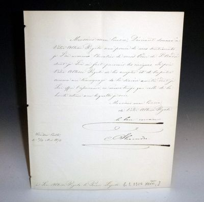 Bifolium, document signed by Czar Alexander II of Russia to Queen Victoria's son, Prince Leopold of ...