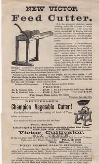 Agricultural Tool Circular, New Victor Feed Cutter/Whittemore's Improved Champion Spring-Tooth Harrow, Clod Crusher and Leveler, Potato Digger and Corn Hoe