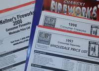 Kellner's Fireworks Consumer Fireworks Wholesale Price Lists for 1998, 1998, and 2000