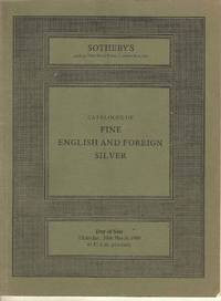 Catalogue of Fine English and Foreign Silver.  Thursday,20th March 1980